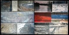 <h5>Gianni Bergamin - Frammenti di memoria</h5><p>Tecnica mista su tela, dittico, cm 80 x 80, 2007</p>