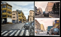 <h5>Gianni Bergamin - Percorsi urbani</h5><p>Tecnica mista su tela, cm 60 x 100, 2009</p>