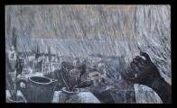 <h5>Gianni Bergamin - Alla Finestra  </h5><p>tecnica mista su tavola, 60 x 100 cm 2004</p>